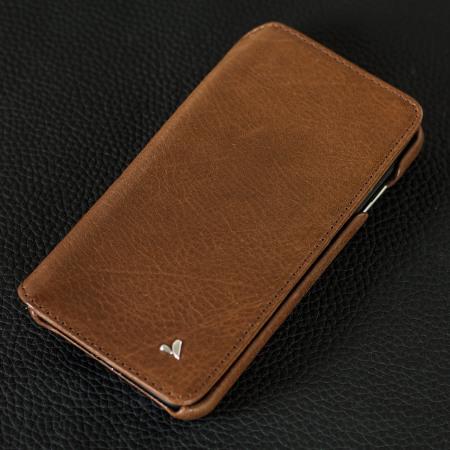 mini powered nubia vaja wallet agenda iphone 7 premium leather case dark brown nfc (near
