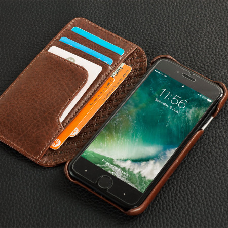 Vaja Wallet Agenda iPhone 7 Premium Leather Case - Dark Brown