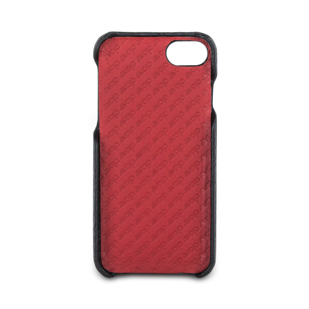 vaja grip iphone 7 premium leather case - black / rosso