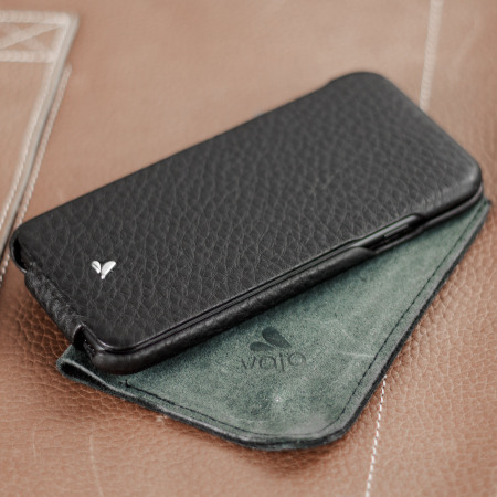 new arrival 439c0 e6617 Vaja Ivo Top iPhone 7 Premium Leather Flip Case - Black