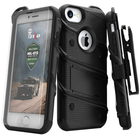 Zizo Bolt Series iPhone 8 / 7 Tough Case & Belt Clip - Black