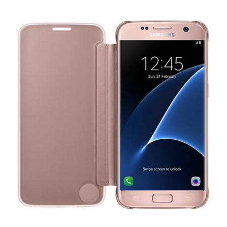 best service 0afb5 11070 Official Samsung Galaxy S7 Clear View Cover Case - Rose Gold