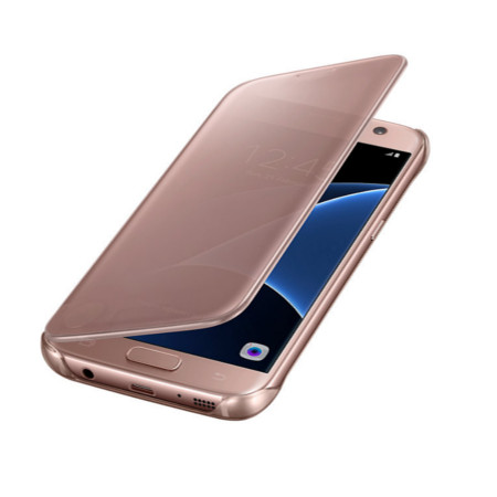 official samsung galaxy s7 clear view cover case rose gold reviews comments. Black Bedroom Furniture Sets. Home Design Ideas