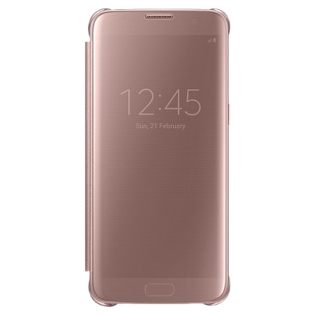 official samsung galaxy s7 edge clear view cover case rose gold. Black Bedroom Furniture Sets. Home Design Ideas
