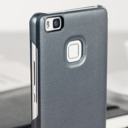 huawei p9 grey. official leather style huawei p9 lite flip cover - grey