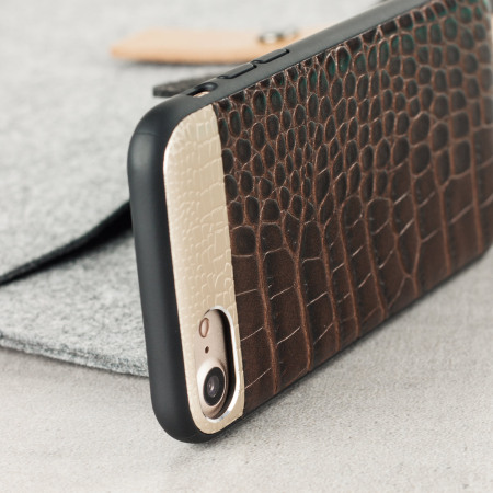CROCO2 Genuine Leather iPhone 7 Case - Brown