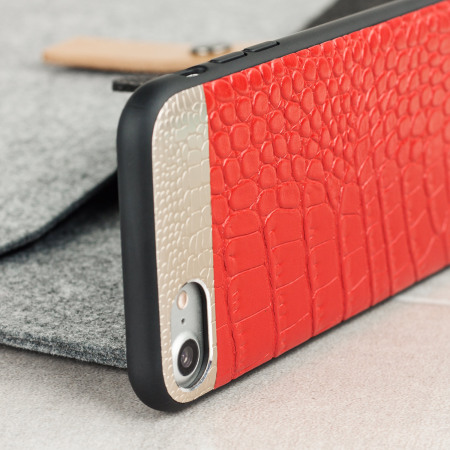 CROCO2 Genuine Leather iPhone 8 / 7 Case - Red