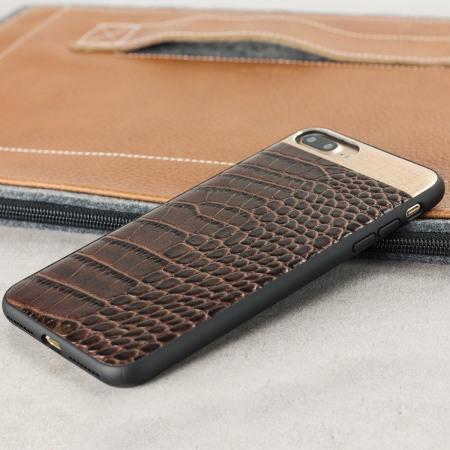 big croco2 genuine leather iphone 7 plus case brown