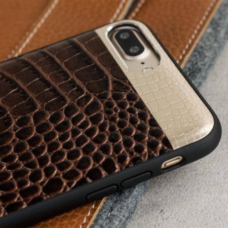 CROCO2 Genuine Leather iPhone 8 Plus / 7 Plus Case - Brown