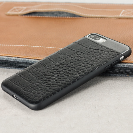 save off b1518 d5593 CROCO2 Genuine Leather iPhone 8 Plus / 7 Plus Case - Black
