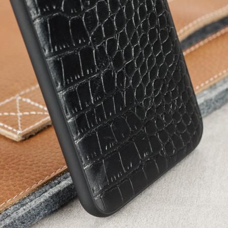 CROCO2 iPhone 7 Plus Lederhülle Case Schwarz