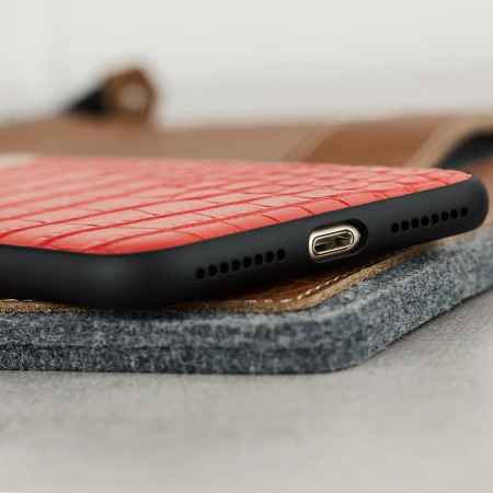 CROCO2 Genuine Leather iPhone 7 Plus Case - Red