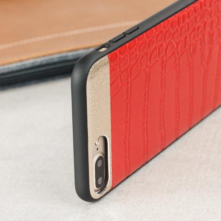 croco2 iphone 7 plus lederh lle case rot. Black Bedroom Furniture Sets. Home Design Ideas
