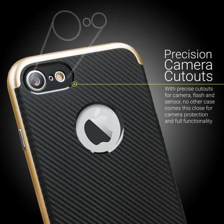 Coque iPhone 7 Olixar X-Duo – Fibres de carbone métallique Or