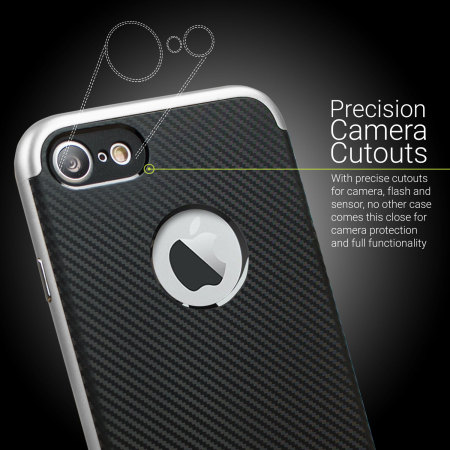 Olixar XDuo iPhone 7 Case - Carbon Fibre Silver