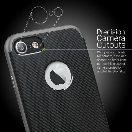 Coque iPhone 7 Olixar X-Duo – Fibres de carbone métallique gris