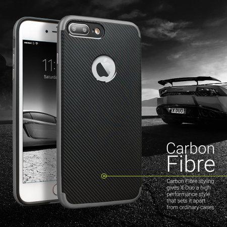 Olixar XDuo iPhone 7 Plus Case - Carbon Fibre Metallic Grey