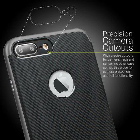 Olixar X-Duo iPhone 8 Plus/7 Plus Hülle in Carbon Fibre Metallic Grau