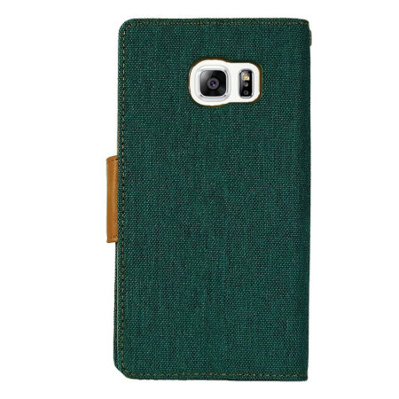 Mercury Canvas Diary iPhone 6S Plus / 6 Plus Plånboksfodral-Grön/kamel