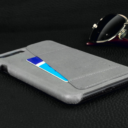 Coque iPhone 7 Plus Mujjo Portefeuille Effet Cuir - Grise