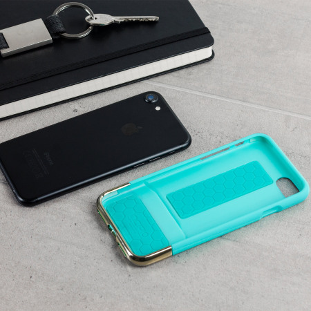 Incipio Edge Chrome iPhone 7 Case - Turquoise / Chrome Champagne Gold