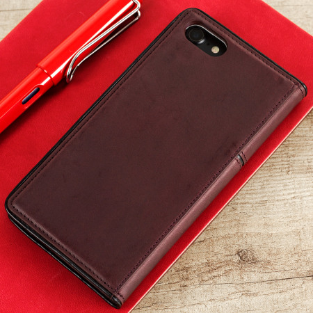 STIL Toscano Wine Genuine Leather iPhone 7 Wallet Case - Burgundy