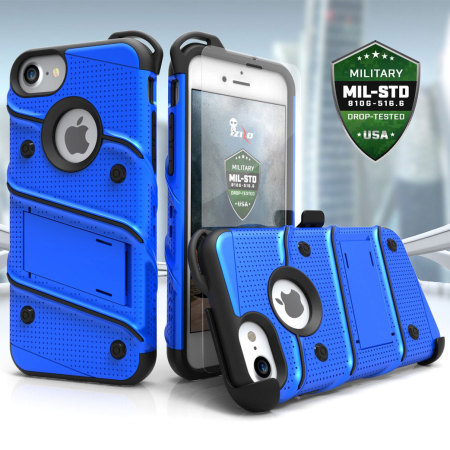 Zizo Bolt Series iPhone 7 Tough Case & Belt Clip - Blue / Black