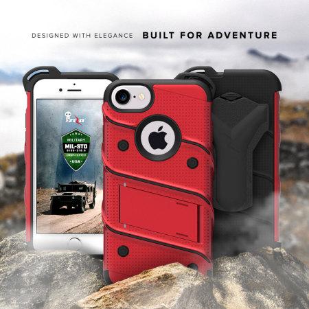 zizo bolt series iphone 7 tough case belt clip black green