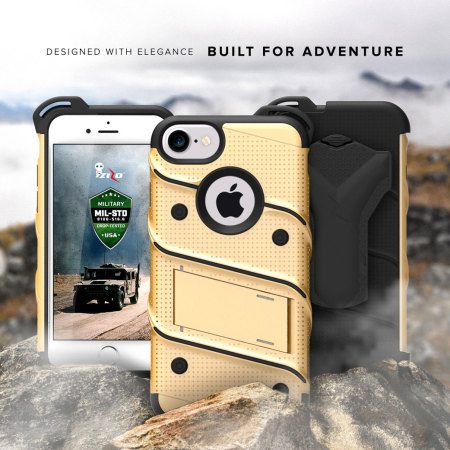 Zizo Bolt Series iPhone 8 / 7 Skal & bältesklämma - Guld / Svart