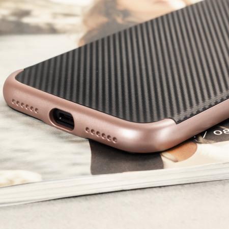 Olixar X-Duo iPhone 7 Case - Carbon Fibre Rose Gold