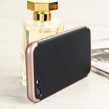 olixar x duo iphone 7 case carbon fibre rose gold central feature