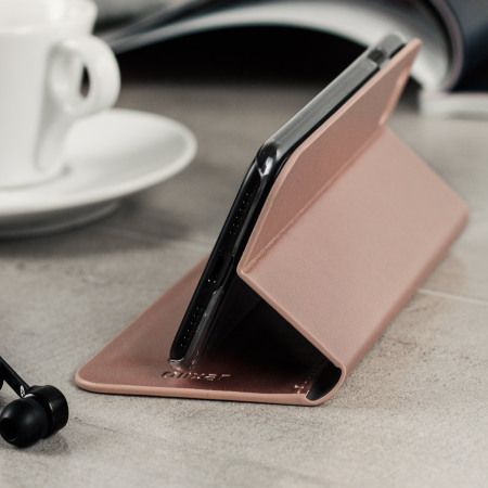 Olixar leather style iphone 7 wallet stand case rose gold