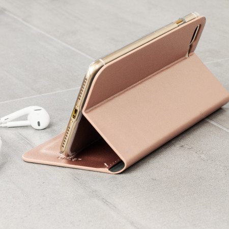 Olixar Leather-Style iPhone 8 Plus Wallet Case - Rose Gold
