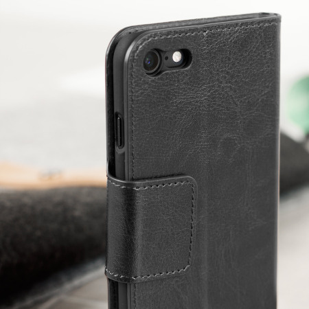 Olixar Leather-Style iPhone 8 Wallet Stand Case - Black