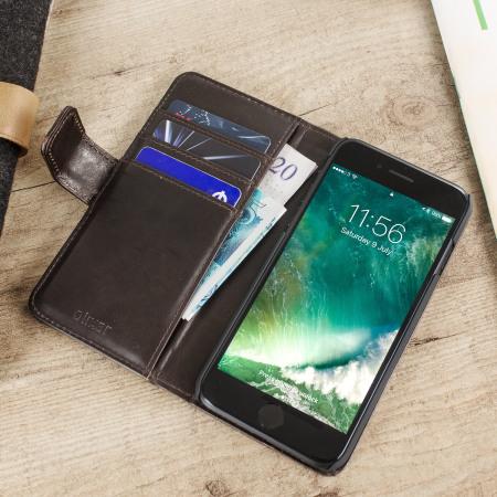 Olixar Genuine Leather iPhone 8 / 7 Wallet Case - Brown