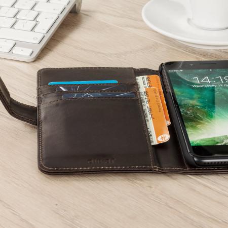 olixar genuine leather iphone 7 plus wallet case brown