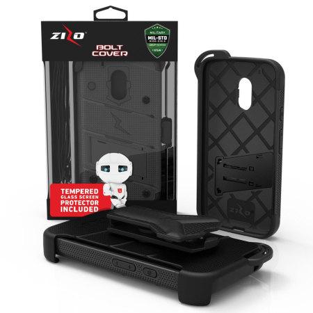 Zizo Bolt Series Moto G4 Play Tough Case & Belt Clip - Black