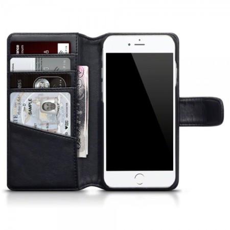 Genuine Leather iPhone 7 Plus Wallet Case - Black