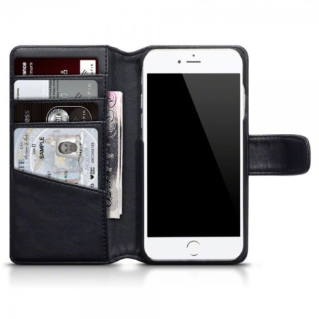 Genuine leather iphone 7 plus wallet case black for Coque iphone 7 portefeuille