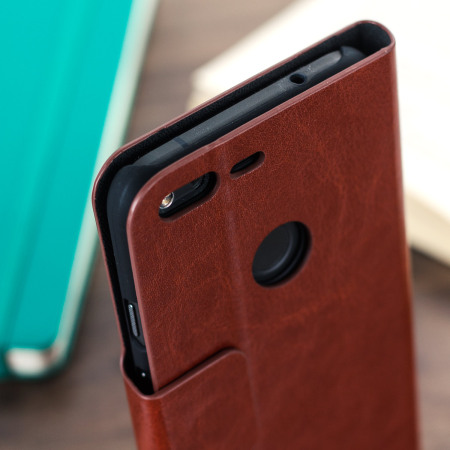Olixar Leather-Style Google Pixel XL Wallet Stand Case - Brown