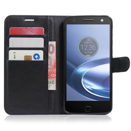 Olixar Leather-Style Motorola Moto Z Force Wallet Stand Case - Black