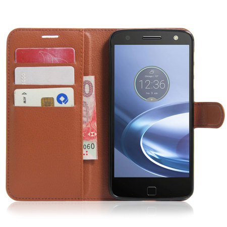 Olixar Leather-Style Motorola Moto Z Force Wallet Stand Case -Brown