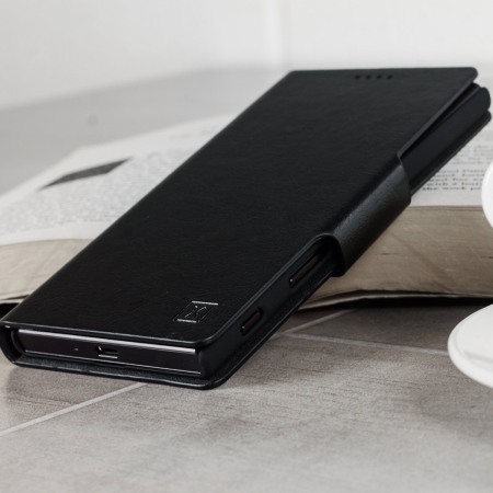 with olixar leather style sony xperia xz wallet case black means