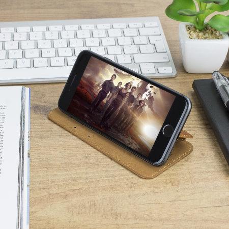Housse iPhone 8 / 7 Olixar Portefeuille en cuir véritable – Marron