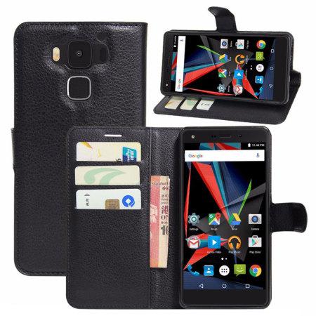 Olixar Leather-Style Archos Diamond 2 Plus Wallet Stand Case - Black