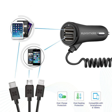 Promate Charger Trio 3-in-1 Dual USB 3.4A Car Charger - Black