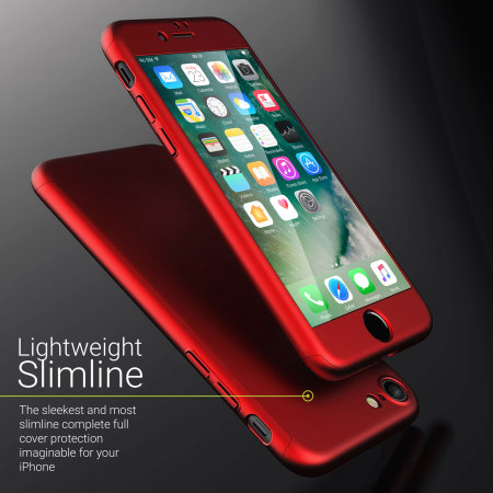 olixar x trio full cover iphone 7 case red reviews comments. Black Bedroom Furniture Sets. Home Design Ideas