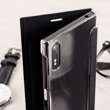 uk availability db557 653c9 Roxfit Premium Sony Xperia XZ Book Case - Black / Clear