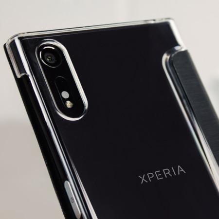 roxfit premium sony xperia xz book case black clear