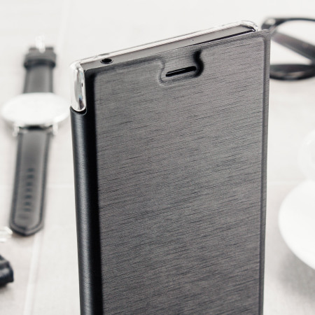 just for roxfit premium sony xperia xz book case black clear well